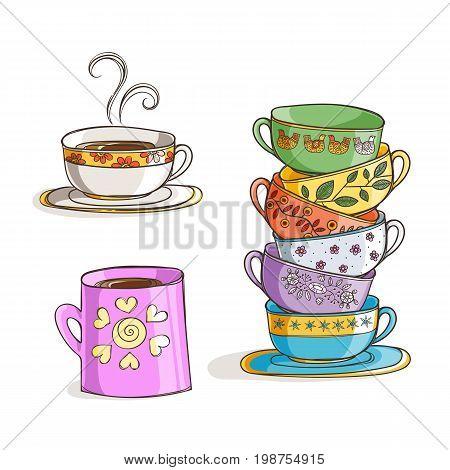Set of cups and mug. Vector illustration. Tea and coffe time.