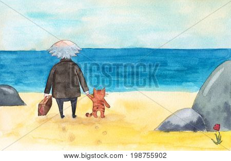 Old man with suitcase and cat come to sea, ocean beach, stand and look at the water and sky, watercolor cartoon illustration