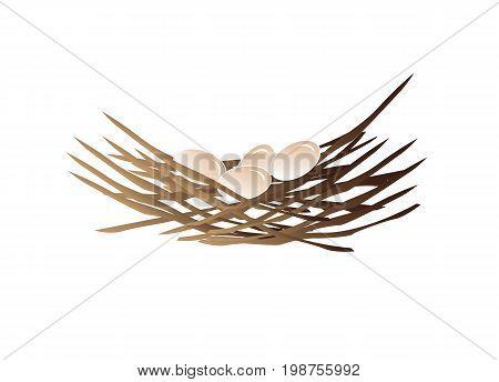 nest illustration with eggs, icon design, isolated on white background.