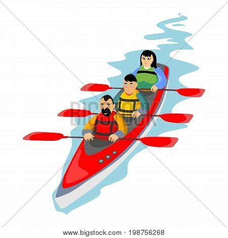 Canoeing water extreme sports, isolated design element for summer vacation activity concept, cartoon wave surfing, sea beach vector illustration, active lifestyle adventure.