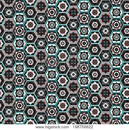Colorful seamless geometric carpet pattern with hexagons and squares, east stile, marrakesh. Fashion black and white contrast ethnic texture for textile, wallpapers, tiles, cloth, gift wrapping paper