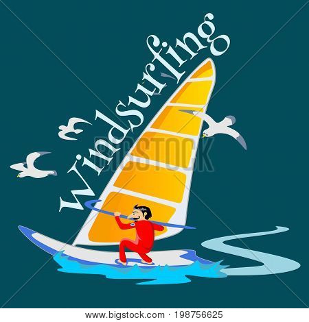 Windsurfing water extreme sports, isolated design element for summer vacation activity concept, cartoon wave surfing, sea beach vector illustration, active lifestyle adventure.