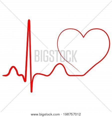Hospital heart logo with pulse, heart beat icon, vector concept of healthy lifestyle, sport and fitness