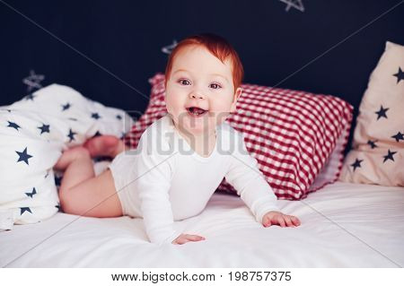 Cute Infant Baby Waking Up In His Bed