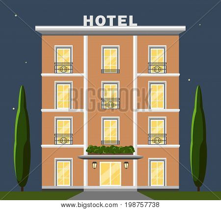 Vector image illustration of hotel reservation porter recreation building. Flat design and night sky on background. French and italian style of architecture.