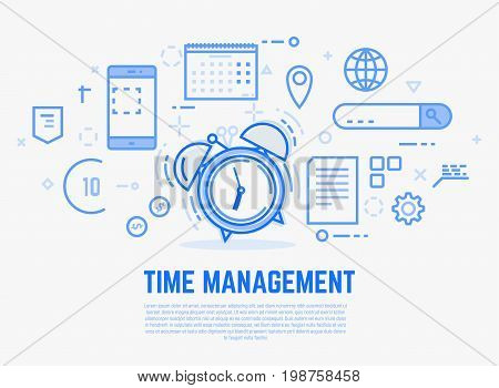 Time management concept. Old alarm clock with bells ringing. Day schedule and office items calendar docs. Modern vector line illustration.