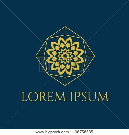 beautiful circular logo for boutique, flower shop, business, interior. Company mark, emblem, element. Simple geometric mandala logotype. Kaleidoscope big bud. Surround abstract blossom.eps8,eps10