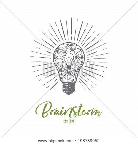 Brainstorm concept. Hand drawn light bulb as a symbol of good idea. Creative idea isolated vector illustration.