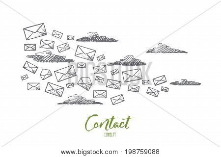 Contact concept. Hand drawn flying letters. A lot of letters as symbol of message isolated vector illustration.
