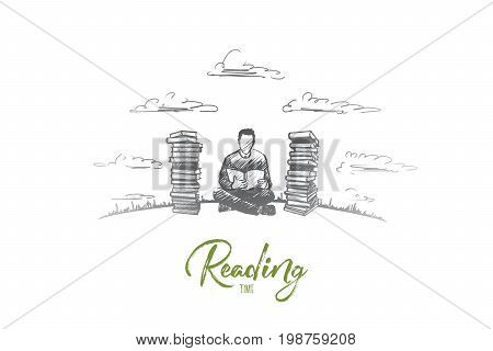 Reading time concept. Hand drawn concentrated man reading fond of literature. Male person sitting and read book isolated vector illustration.