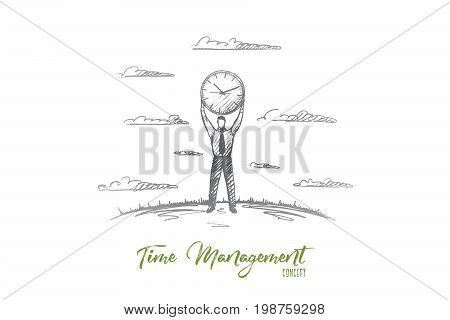 Time management concept. Hand drawn man holding big clock under his head. Businessman carrying about time and schedule isolated vector illustration.