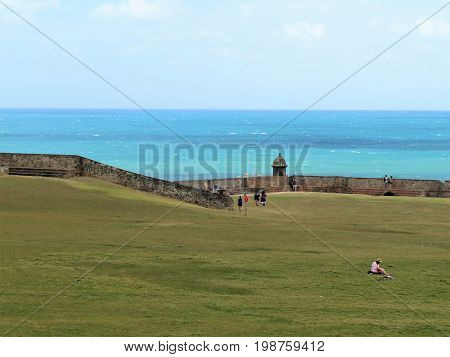 San Felipe del Morro fort in San Juan Puerto Rico- March 9 2017-School tourists visiting the historic San Felipe del Morro fort