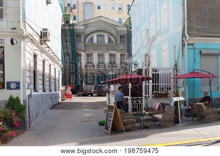 MOSCOW - AUGUST 7: Buildings reconstruction in Stoleshnikov Lane on August 7 2017 in Moscow. Stoleshnikov Lane is pedestrian street in center of Moscow.