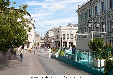 MOSCOW - AUGUST 7: View on Stoleshnikov Lane towards Bolshaya Dmitrovka Street on August 7 2017 in Moscow. Stoleshnikov lane is pedestrian street in center of Moscow.