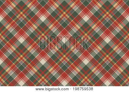 Classic check tartan diagonal seamless fabric texture. Vector illustration.