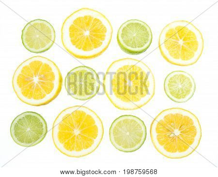 Yellow and green lemon and lime citrus slices isolated on white background backlit through lightbox