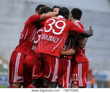 KAPOSVAR, HUNGARY - SEPTEMBER 25: Debrecen players celebrate a goal at a Hungarian National Championship soccer game Kaposvar vs Debrecen September 25, 2009 in Kaposvar, Hungary.