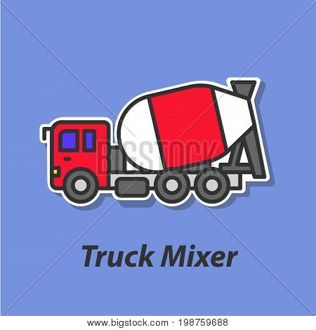 Truck mixer color flat icon. This is the vector icon for websites and electronic applications. This icon have a size of 48 by 48 pixels. Also you can edit the size of the icon in the graphical editor.