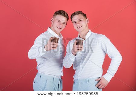 Models Standing On Red Background