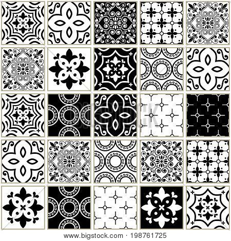 Veector navy blue tiles pattern, Azulejos - Portuguese seamless tile design, monochrome ceramics set