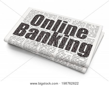 Banking concept: Pixelated black text Online Banking on Newspaper background, 3D rendering