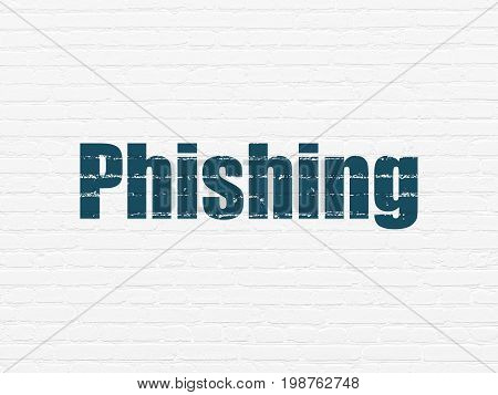 Security concept: Painted blue text Phishing on White Brick wall background