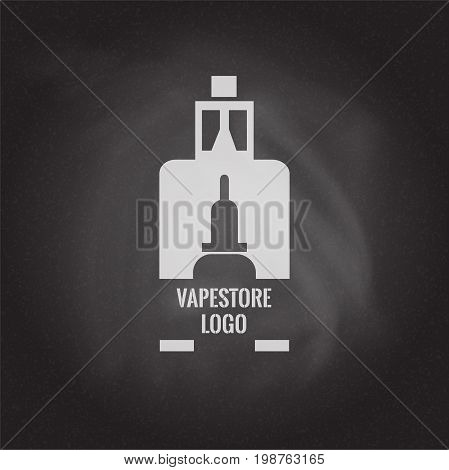 Vape store logo template design on the blackboard background. E-cigarette and e-liquid bottle stamp or T-shirt print. Stock vector