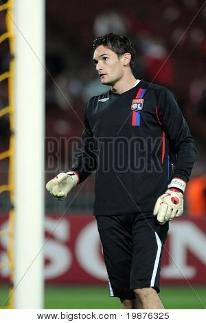 BUDAPEST - SEPTEMBER 29: Hugo Lloris (Lyon's goalkeeper) on the UEFA Champions League football game Debrecen vs Lyon, UEFA Champions League football game, September 29, 2009 in Budapest, Hungary.
