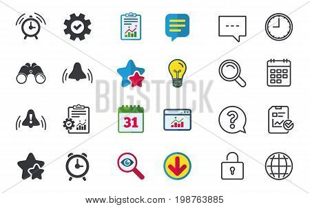 Alarm clock icons. Wake up bell signs symbols. Exclamation mark. Chat, Report and Calendar signs. Stars, Statistics and Download icons. Question, Clock and Globe. Vector