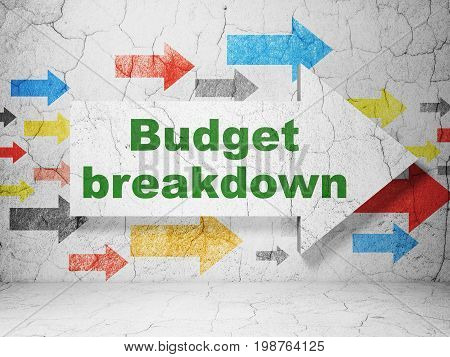 Business concept:  arrow with Budget Breakdown on grunge textured concrete wall background, 3D rendering