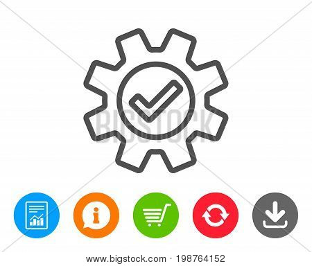 Cogwheel line icon. Approved Service sign. Transmission Rotation Mechanism symbol. Report, Information and Refresh line signs. Shopping cart and Download icons. Editable stroke. Vector