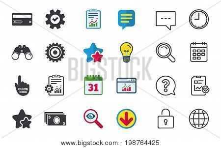 ATM cash machine withdrawal icons. Insert bank card, click here and check PIN, processing and get cash symbols. Chat, Report and Calendar signs. Stars, Statistics and Download icons. Vector