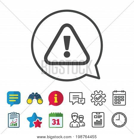 Attention sign icon. Exclamation mark. Hazard warning symbol. Information, Report and Calendar signs. Group, Service and Chat line icons. Vector