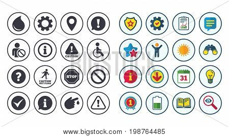 Set of Attention, Information and Caution icons. Question mark, warning and stop signs. Injury, disabled person and tick symbols. Calendar, Report and Book signs. Stars, Service and Download icons
