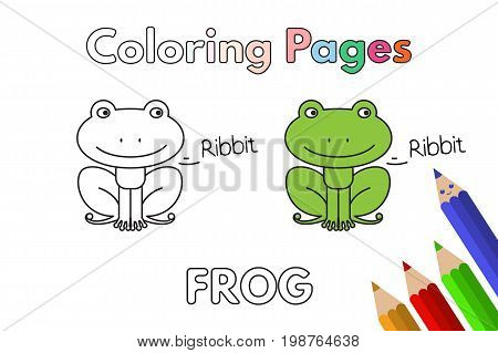 Cartoon frog illustration. Vector coloring book pages for children