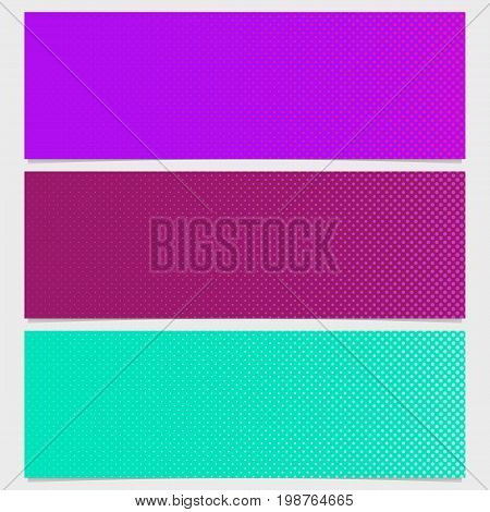 Halftone dot pattern banner design set - vector illustration from circles in varying sizes