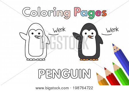 Cartoon penguin illustration. Vector coloring book pages for children