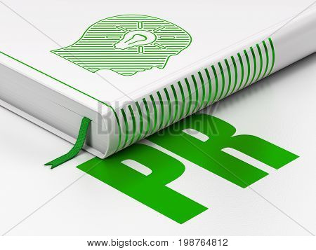 Marketing concept: closed book with Green Head With Light Bulb icon and text PR on floor, white background, 3D rendering