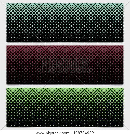 Abstract halftone square pattern banner template design set - vector graphic design from diagonal squares in varying sizes