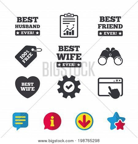 Best wife, husband and friend icons. Heart love signs. Award symbol. Browser window, Report and Service signs. Binoculars, Information and Download icons. Stars and Chat. Vector