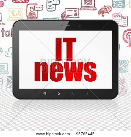 News concept: Tablet Computer with  red text IT News on display,  Hand Drawn News Icons background, 3D rendering