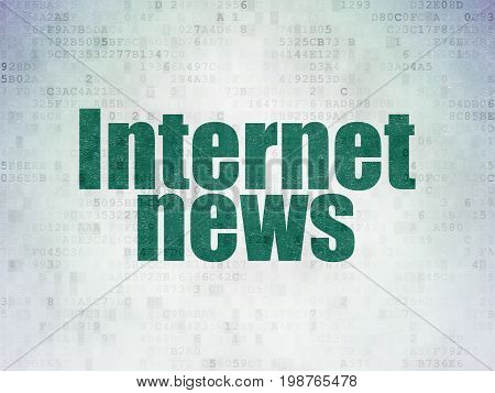 News concept: Painted green word Internet News on Digital Data Paper background
