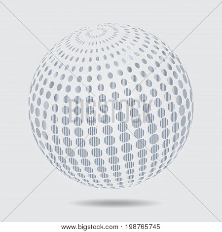 Sphere halftone pattern. Circle dotted design element isolated on white. vector 3D logo