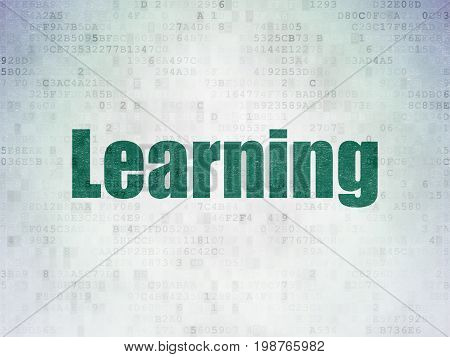 Education concept: Painted green word Learning on Digital Data Paper background