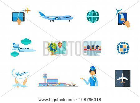Airplane icon set. Buying Tickets Online Big Plane Globe Jet Plane Globe and Map Passengers in Airplane Flight Insurance Airport Terminal Stewardess