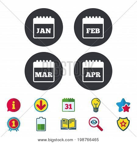 Calendar icons. January, February, March and April month symbols. Date or event reminder sign. Calendar, Information and Download signs. Stars, Award and Book icons. Light bulb, Shield and Search