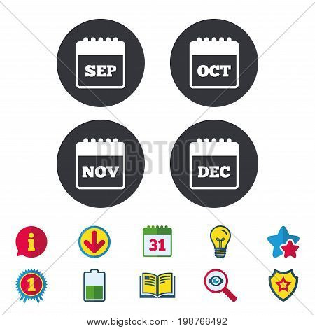 Calendar icons. September, November, October and December month symbols. Date or event reminder sign. Calendar, Information and Download signs. Stars, Award and Book icons. Vector