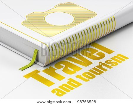 Travel concept: closed book with Gold Photo Camera icon and text Travel And Tourism on floor, white background, 3D rendering