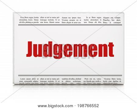 Law concept: newspaper headline Judgement on White background, 3D rendering