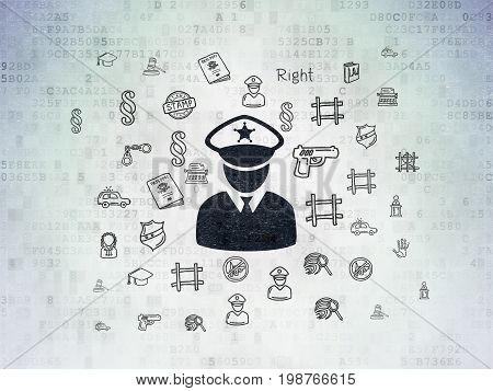 Law concept: Painted black Police icon on Digital Data Paper background with  Hand Drawn Law Icons